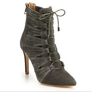 NEW Joie Jelka Lace-up Gray Suede Booties NWOB